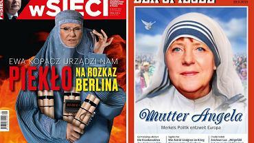 """Ewa Kopacz i Angela Merkel na okładkach czasopism """"wSieci"""" i """"Der Spiegel"""""""