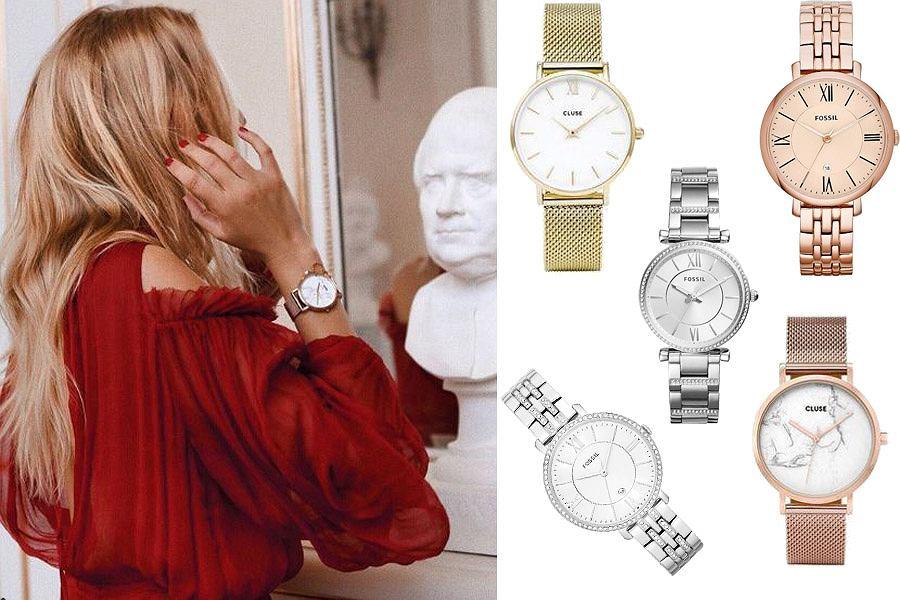 Kolaż, zegarki na bransolecie/Materiał sportowy