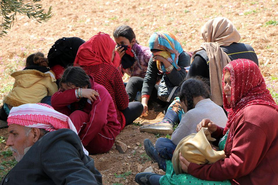 Syryjscy uchodźcy wewnętrzni na terenach pomiędzy Afrin i Azaz w północno-zachodniej części kraju, 14 marca 2018 r.
