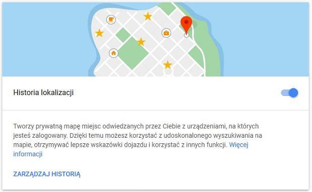 Ustawienia historii lokalizacji w Mapach Google