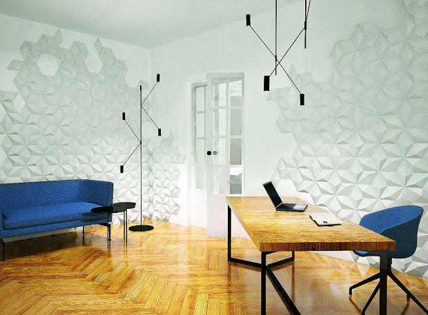 Wielokątne panele warto ułożyć na części ściany, tworząc kompozycję o nieregularnych krawędziach. DIAMENT, panele betonowe, 30 x 17 cm, gr. 3,1 cm od 18,45 zł/szt. Klinika Betonu