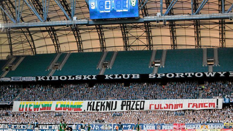 Transparent na meczu Lecha Poznań