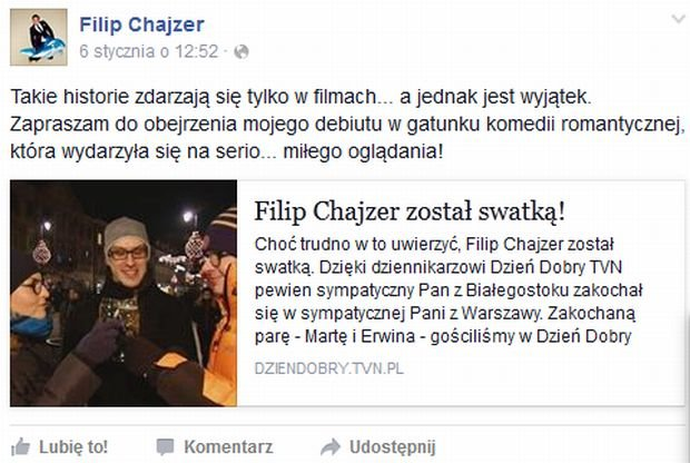 screen z Facebooka Filipa Chajzera