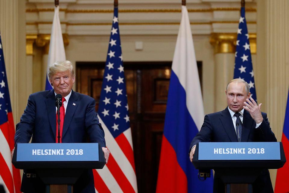 Donald Trump i Władimir Putin podczas wspólnej konferencji po spotkaniu. Helsinki, 16 lipca 2018