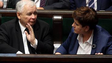 Prezes PiS Jarosław Kaczyński i premier Szydło w Sejmie