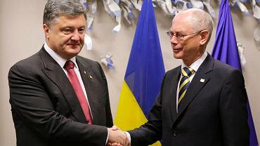 Petro Poroszenko na spotkaniu z szefem Rady Europejskiej Hermanem Van Rompuyem
