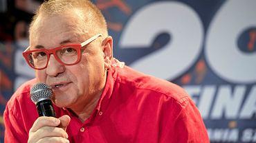 Jerzy Owsiak podczas konferencji prasowej 26 Finalu Wielkiej Orkiestry Swiatecznej Pomocy .