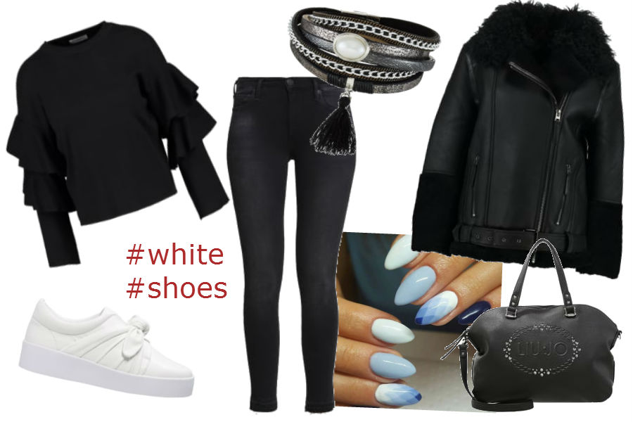fot. materiały partnera, czarny płaszcz, białe buty, bransoletka srebrna