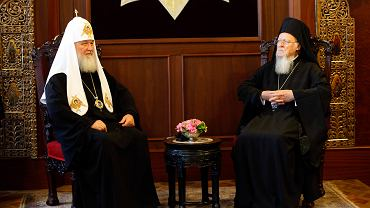 Patriarcha Konstantynopola Bartłomiej I na spotkaniu z patriarchą Moskwy Cyrylem I, 31.08.2018, Stambuł.