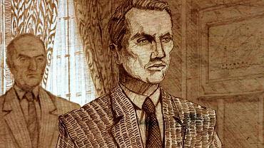 Karski w Białym Domu w rysunkowej sekwencji filmu. Z tyłu ambasador RP w USA Jan Ciechanowski