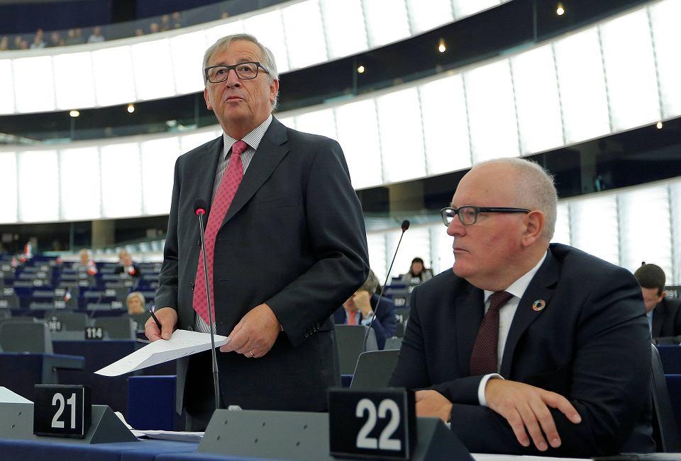Jean-Claude Juncker, przewodniczący Komisji Europejskiej, w Sztrasburgu. Komisja zastanawia się, co zrobić w sprawie Polski