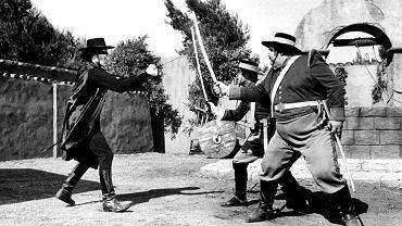 Serial 'Zorro' nakręcony w latach 1957-59 przez wytwórnię Walta Disneya polska telewizja wyemitowała po raz pierwszy na początku lat 60. Człowieka w masce zagrał Guy Williams (z lewej), a ścigał go sympatyczny grubas, sierżant Demetrio López Garcia, w którego wcielił się Henry Calvin.