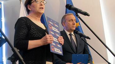 Ewa Kopacz i Grzegorz Schetyna na konferencji prasowej w siedzibie PO, 07.04.2016