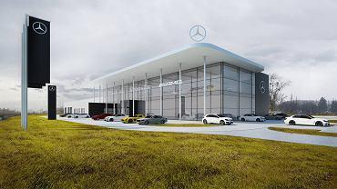 Wizualizacja salonu Mercedesa, który powstaje przy DTŚ w Rudzie Śląskiej