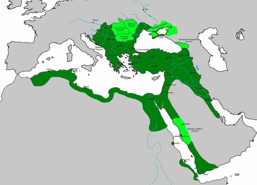 Granice Imperium Osmańskiego w momencie śmierci Sulejmana Wspaniałego (fot. Chamboz / Wikimedia.org / CC BY-SA 4.0)