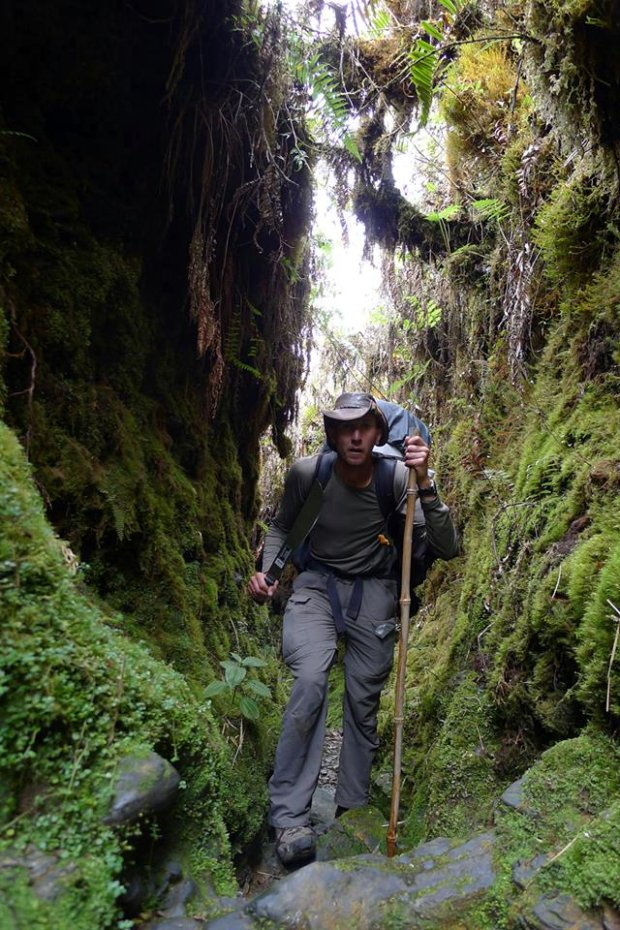 Michał Kozok przedziera się przez dżunglę