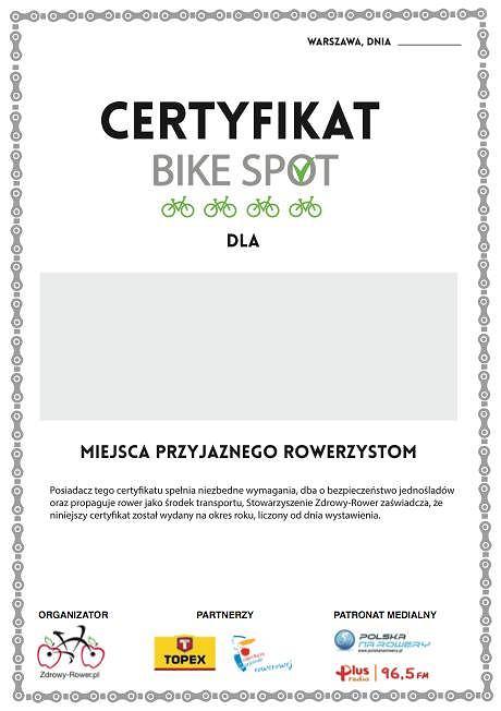 certyfikat bike spot