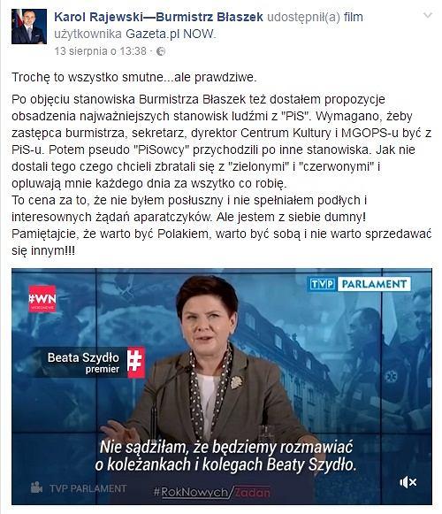 Facebook / Karol Rajewski - Burmistrz Błaszek