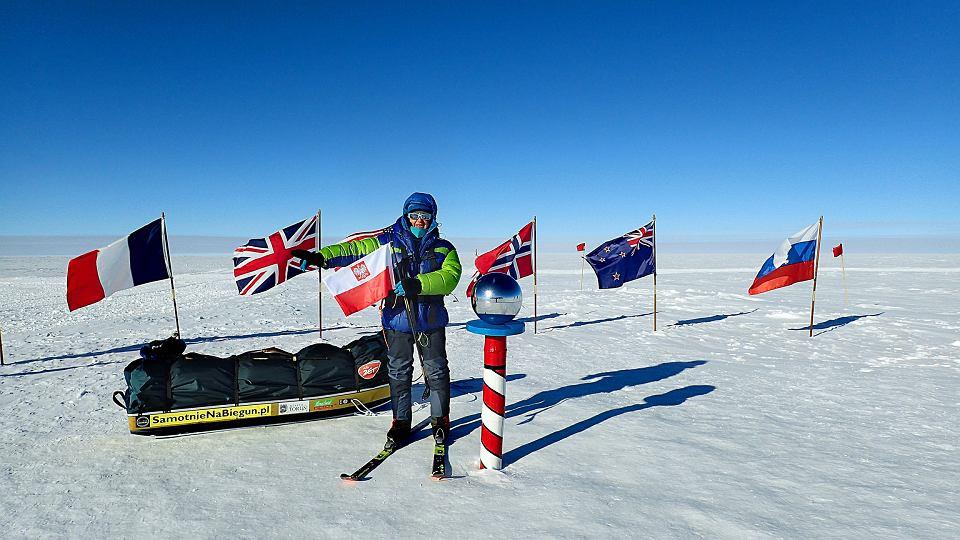 Małgorzata Wojtaczka po zdobyciu bieguna południowego, 25 stycznia 2017 r.