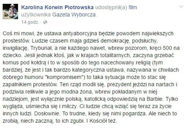 Wpis z Facebooka Karoliny Korwin-Piotrowskiej
