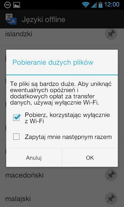 T�umacz Google na Androida - pakiety j�zyków