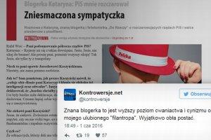"""Kataryna zniknęła z Twittera. Blogerka zhejtowana w """"buraczanym"""" stylu za wywiad o... PiS"""