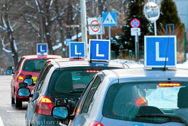 Samochody nauki jazdy na ulicach Szczecina