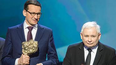 6.02.2018, Warszawa, premier Mateusz Morawiecki i prezes PiS Jarosław Kaczyński podczas Gali 25-lecia Gazety Polskiej oraz Strefy Wolnego Słowa.
