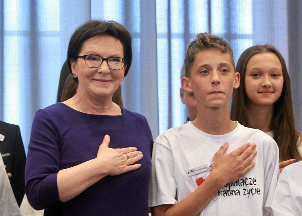 Premier Ewa Kopacz i 14-letni Oskar