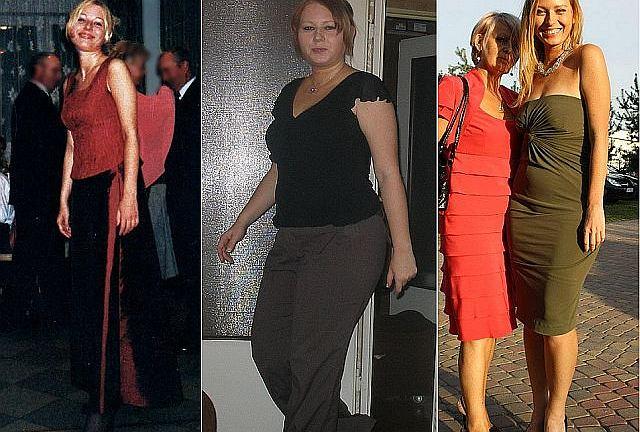 Olga w trzech fazach swojej wagi - zanim przytyła, w apogeum wagi i w obecnej formie.