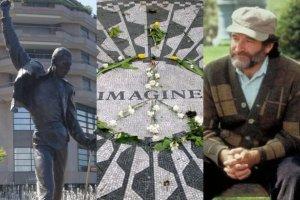 Pomnik Freddie'ego Mercury'ego, mozaika upamiętniająca Johna Lennona i Robin Williams na legendarnej ławce z Buntownika z wyboru