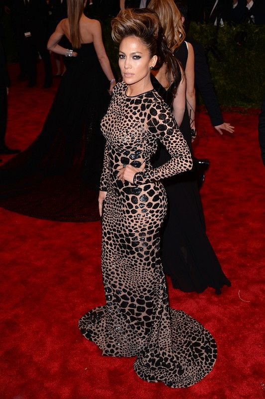 Jennifer Lopez arriving at the Costume Institute Benefit Gala at the Metropolitan Museum of Art, New York, celebrating the opening of PUNK Chaos to Couture.
