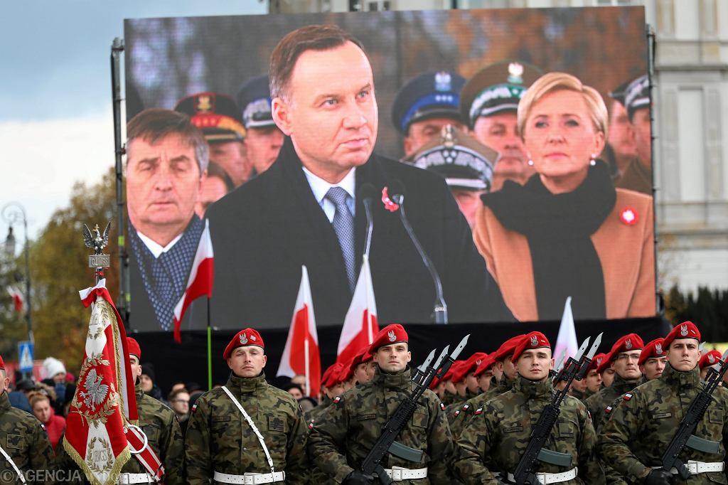 Prezydent RP Andrzej Duda podczas centralnych obchodów Święta Niepodległości przy Grobie Nieznanego Żołnierza