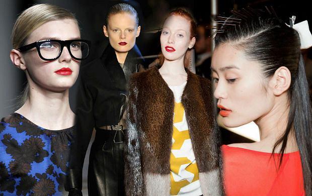 Gładko zaczesane włosy i czerwone usta - jesień według Yves Saint Laurent, Marca Jacobsa i innych