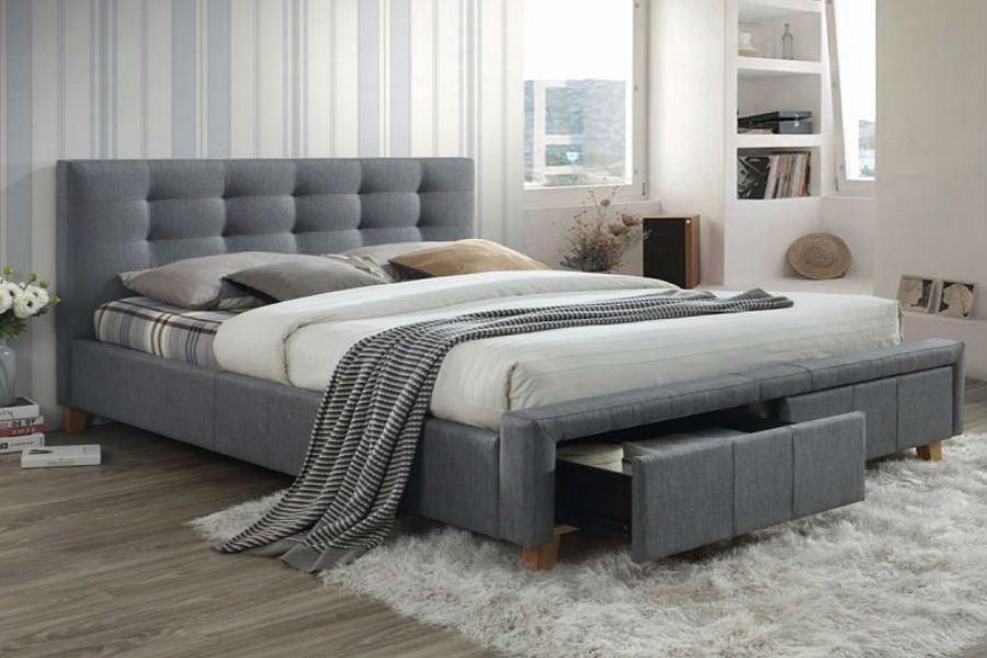 łóżko Idealne Do Sypialni Tapicerowane Drewniane Kontynentalne