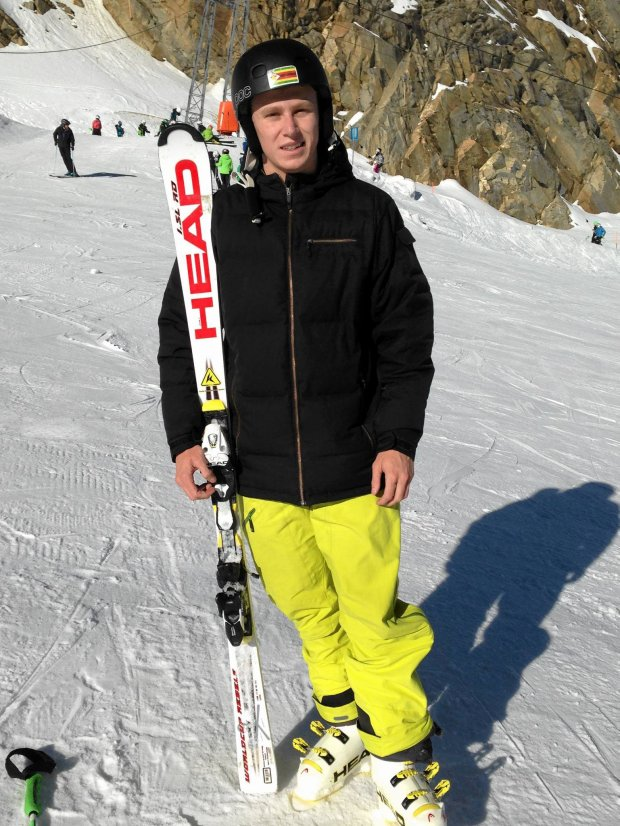 In this photo taken Oct. 25, 2013 and provided by Luke Steyn, shows Luke Steyn during practice on the ski slopes in Colorado. The 20-year-old Steyn will be Zimbabwe's first Winter Olympics athlete when he races in the slalom and giant slalom at the 2014 Games in Sochi. (AP Photo)