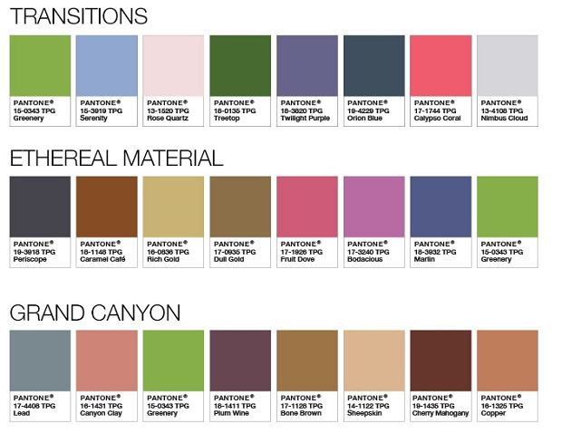 Przykładowe palety z 'Greenery', kolorem roku 2017 według Pantone