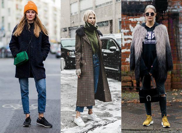 Sneakersy w zimowych zestawach
