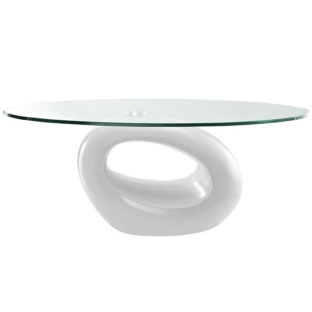 Stolik kawowy OVAL biały - włókno szklane