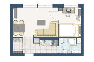 32 m: jak urz�dzi� dwa ma�e pokoje w bloku?
