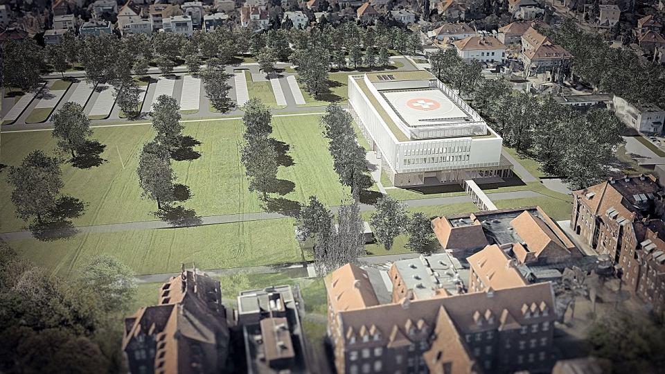 Pierwszy etap budowy szpitala na Grunwaldzie - widok z lotu ptaka od wschodu. Po lewej stronie mają powstać kolejne budynki - wizualizacja