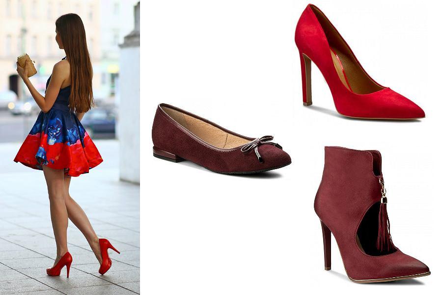 niebieska sukienka czerwone buty