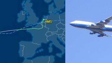 Trasa lotu samolotu oraz Boeing 747 (zdjęcie ilustracyjne)