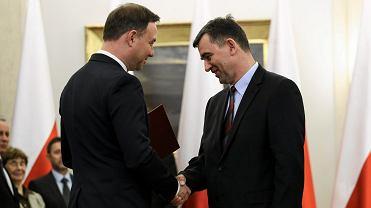 Prezydent RP Andrzej Duda i nowy ambasador w Niemczech, prof. Andrzej Przyłębski