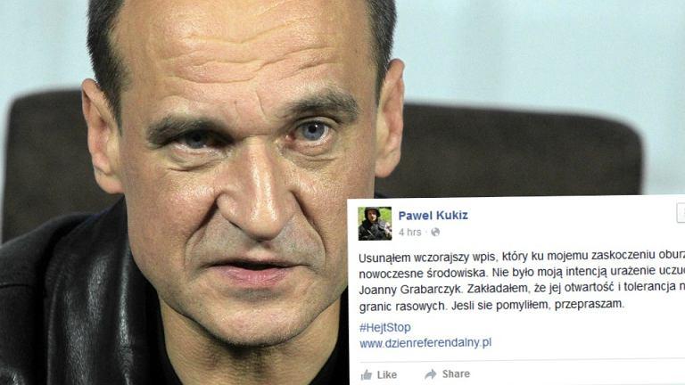 Paweł Kukiz przeprasza za wpis o Joannie Grabarczyk