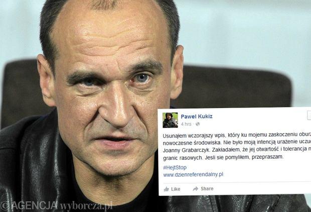 Pawe� Kukiz przeprasza za wpis o Joannie Grabarczyk