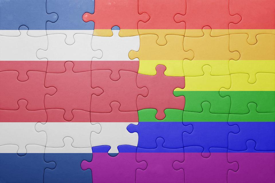 Międzyamerykański Trybunał Praw Człowieka z siedzibą w Kostaryce zaleca krajom Ameryki Łacińskiej legalizację małżeństw jednopłciowych (puzzle z flagą Kostaryki i tęczową flagą ruchu LGBT).