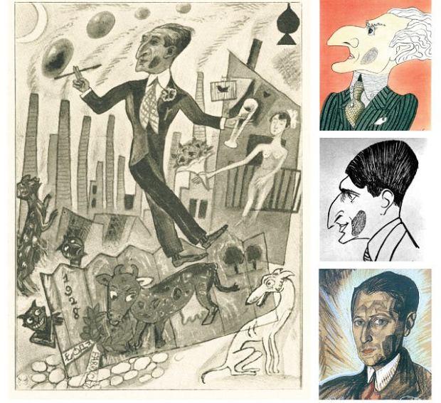 Julian Tuwim w karykaturze Wladyslawa Daszewskiego w ''Wiadomosciach Literackich'' z 1928 roku. Od góry karykatura autorstwa Eryka Lipińskiego, poniżej Jerzego Szwajcera i Tuwim na obrazie Witkacego