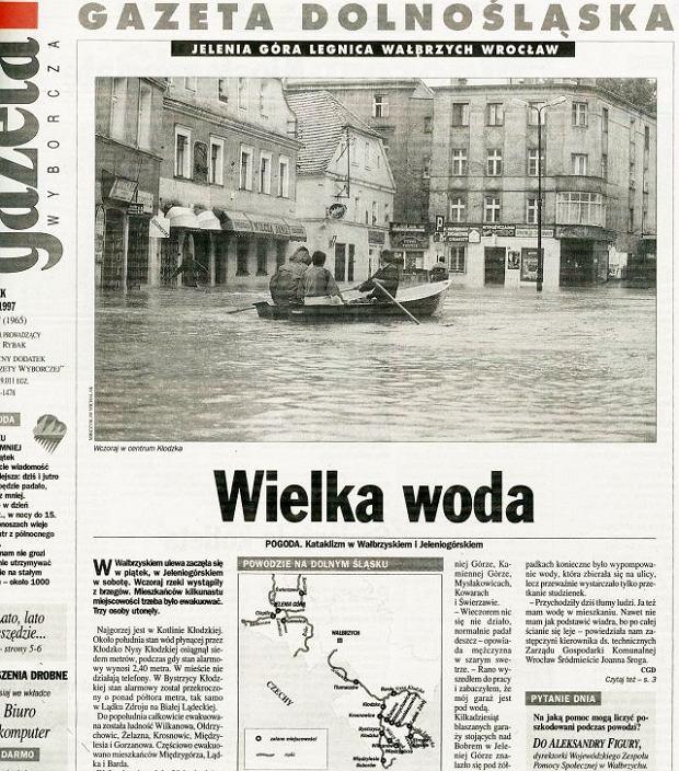 """Powódź tysiąclecia - archiwalne numery wrocławskiej """"Wyborczej"""" z 1997 r."""