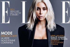 """Blond Kim Kardashian w sesji dla francuskiego """"Elle"""". Nie pozowa�a sama [ZDJ�CIA]"""